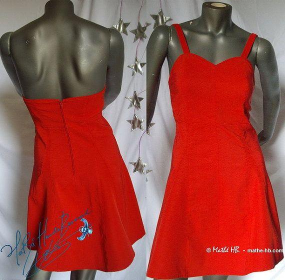 bustier dress red trapezium cut retro styl zise par MatheHBcouture