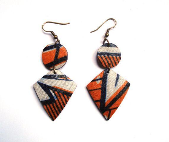 boucles d'oreille wax et noix de coco doubles (orange et bleu marine)