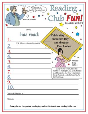 FREEBIE    Presidents Day and the First Ladies Reading Log and Certificate Set