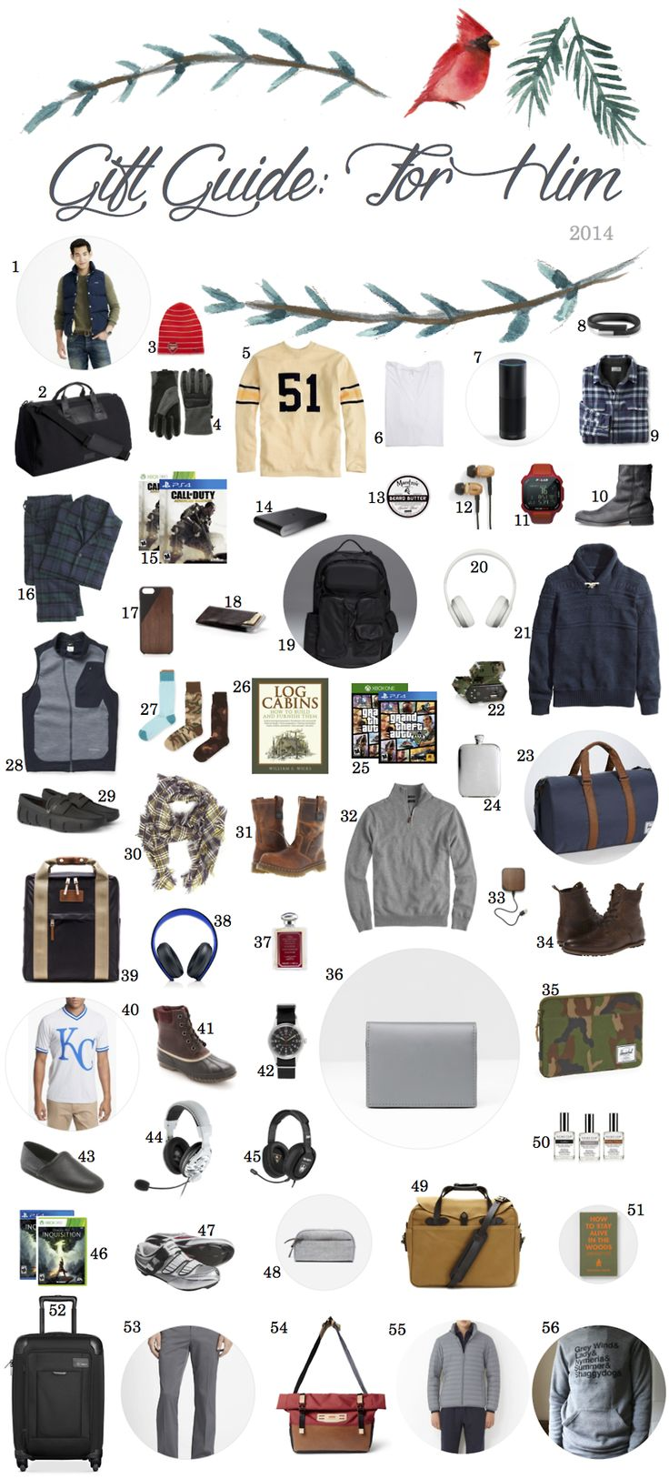 Don't forget to keep an eye out for Black Friday discounts/bundles on some of the electronic stuff here.  J.Crew Penfield Outlook Vest, $175 Ben Minkoff Black Canvas Gym Bag, $95 (from $295) Puma Arsenal Beanie, $28 The North Face ThermoBall Glove, $50 Ebbets Field Flannel Brooklyn Dodgers Jersey, $225 American Apparel 7-Pack V-Neck, $118 Amazon Echo, $99 for Amazon Prime members UP 24 by Jawbone Band, $115 (from $129)  LL Bean Fleece-Lined Flannel Shirt, $64 H&M Leather Boots, ...