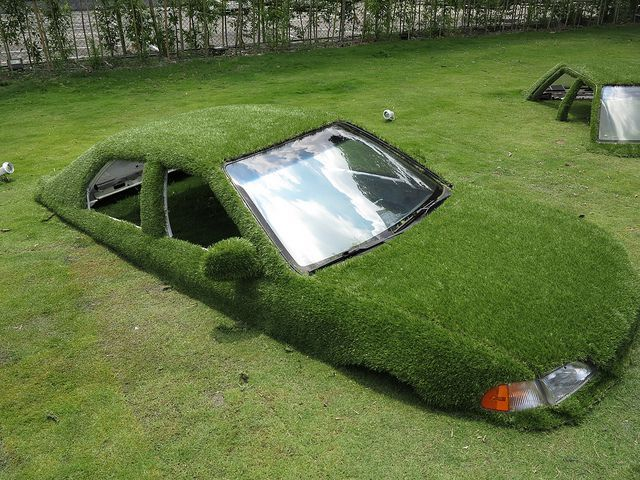 Green Art: Landscaped Cars Half-Buried in Taiwan City