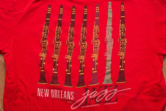 New Orleans Jazz T-Shirt, Clarinet Musical Instrument, Vintage 80s, Short Sleeve Graphic Tee, The Big Easy, Louisiana Music, Blues