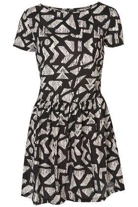 Aztec Print T-Shirt Cross Back Dress - Top Shop