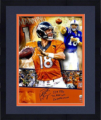 """Framed Peyton Manning Denver Broncos/Indianapolis Colts Autographed 16"""" x 20"""" Collage Photograph with Multiple Career Stat Inscriptions - Fanatics Authentic Certified ** You can get more details by clicking on the image."""