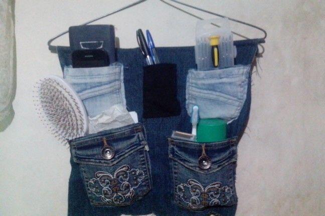 Organizador hecho jeans viejos