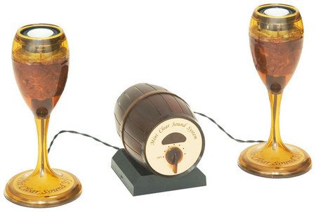 Wine glass shaped speakers | #ParksandRec | #TreatYoSelf