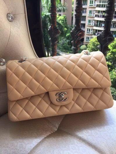 fc87c0cc1f0d Wholesale Chanel 1112 Flap Shoulder bag apricot sheep silver