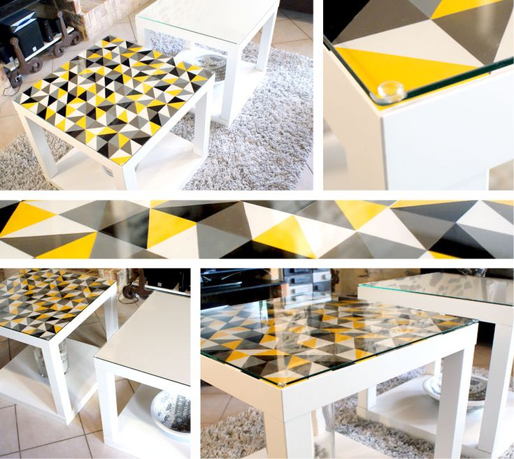 Les 25 meilleures id es concernant r novation de table basse sur pinterest - Customiser table en verre ...