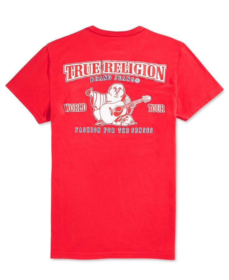 True Religion updates your casual wardrobe with a cool double puff T-shirt with graphic at back and logo on front. | Cotton | Machine washable | Imported | Crew neck | Short sleeves | Logo at front; d