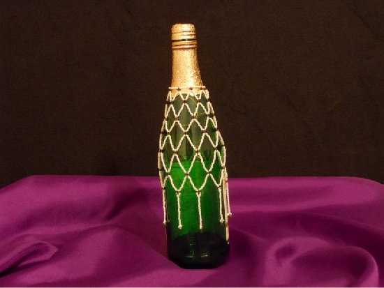 Beaded Wine Bottle Cover, Fancy up a gift.