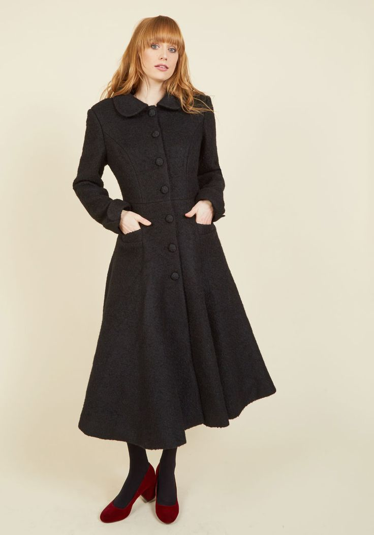 Elegance of the Era Coat in Noir. Embody the class and sophistication of bygone times with this gorgeous black coat. #black #modcloth