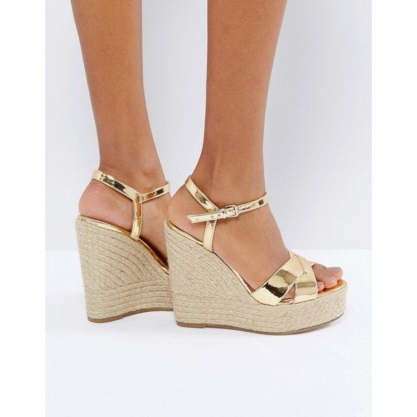 Office Wonder Metallic Wedge Espadrilles (132 CAD) ❤ liked on Polyvore featuring shoes, sandals, gold, gold ankle strap sandals, wedge espadrilles, gold loafers, wedge sandals and gold wedge sandals