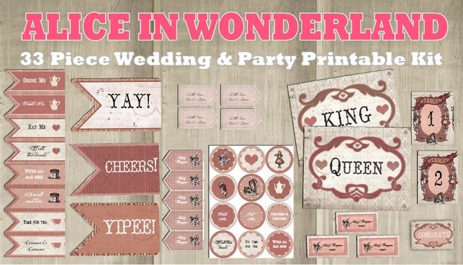33 Piece Alice In Wonderland Wedding And Party Decor