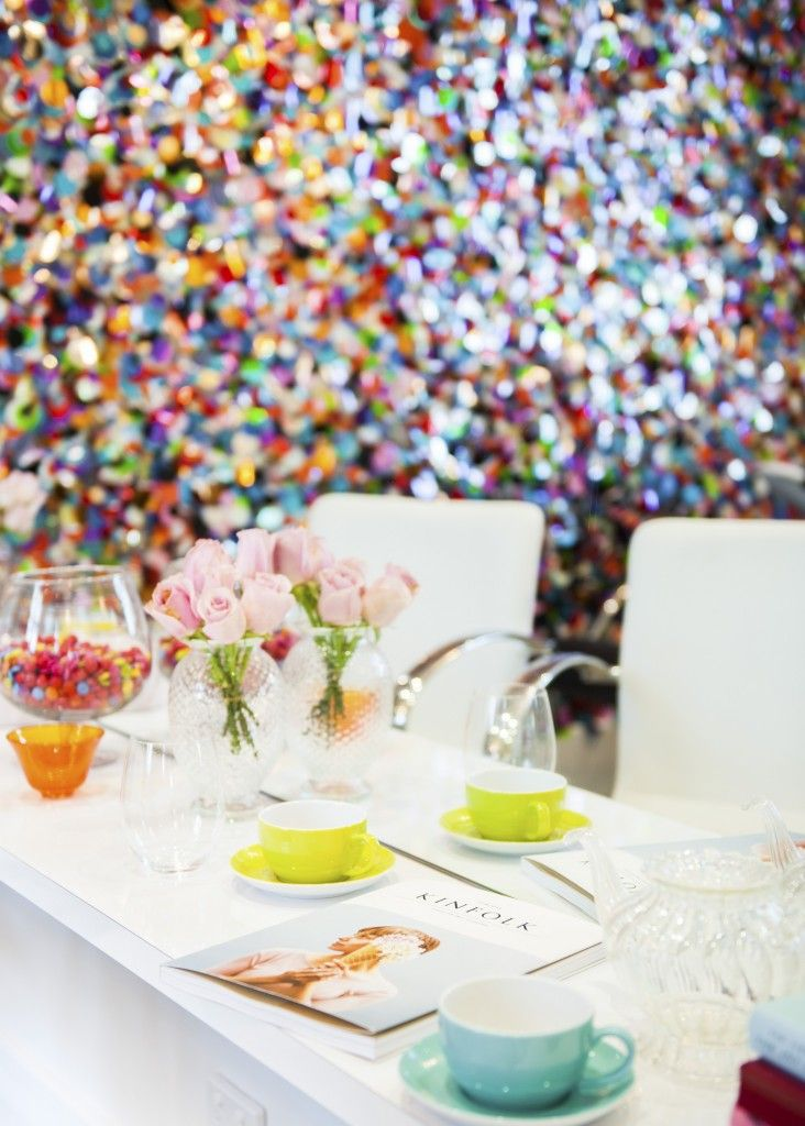 Giant sequin wall wows in Perth beauty bar