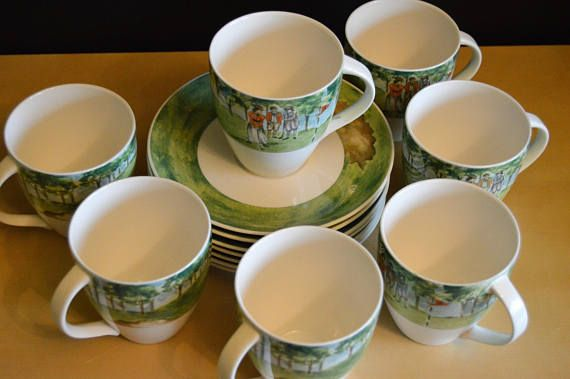 7 sets  14 pcs Mikasa Country Club Golf 8 oz Cup and Saucers