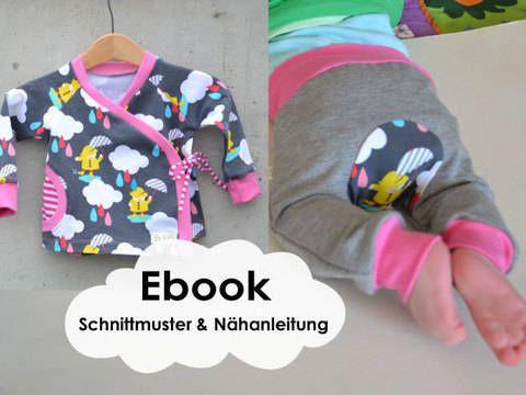 """""""Wickeljäckchen"""" ist ein Schnittmuster/ Anleitung für ein gemütliches Jersey oder Sweatjäckchen.  Ohne lästiges """"über den Kopf ziehen"""" schlüpft Dein Baby schnell hinein.  Das Jäckchen kann mit Druckknöpfen oder Bändchen geschlossen werden.  Zu dem gibt es noch die Möglichkeit, eine optische Tasche einzunähen.  Durch den Schnitt, und das weiche dehnbare Material hat Dein Baby viel Bewegungsfreiheit.  Die Ärmel sind etwas länger geschnitten. Wenn Du die Bündchen anfangs umschlägst, wächs..."""