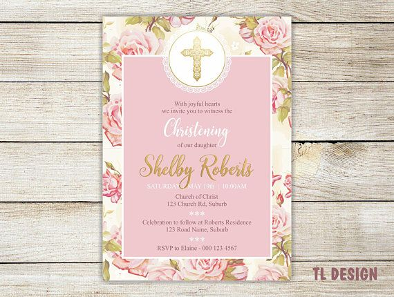 "Rose with Gold cross Christening Invitation - Digital Invitation - 5x7"" - Printable File"