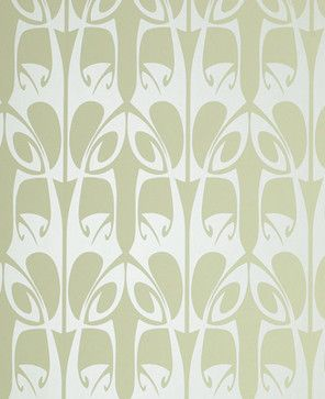 Barbara Hulanicki Wallpaper - Hula Pattern - in Soft Green Swatch - contemporary - wallpaper - Design Public