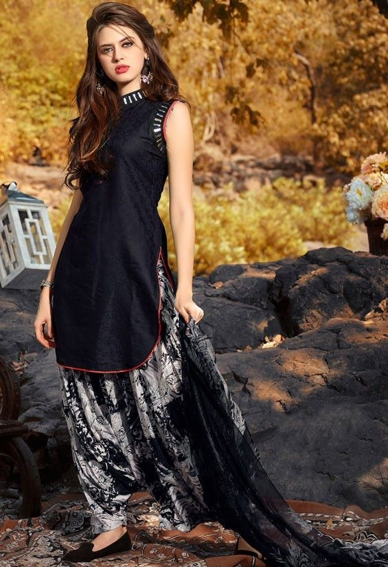 Scintillating Black Patiala Suit