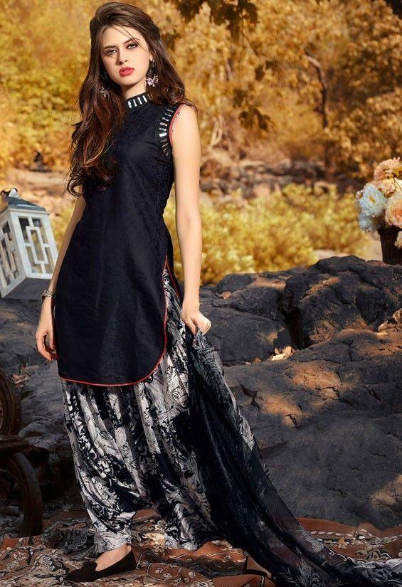 Scintillating Black Patiala Suit