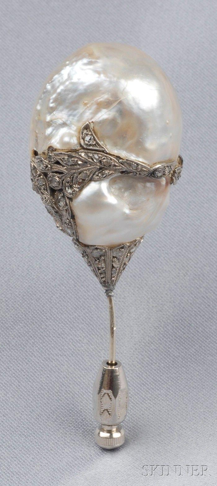 Antique Baroque Pearl Ad Diamond Hat Pin Bound By Freeform Rose-Cut Diamond Vines, Millegrain Accents
