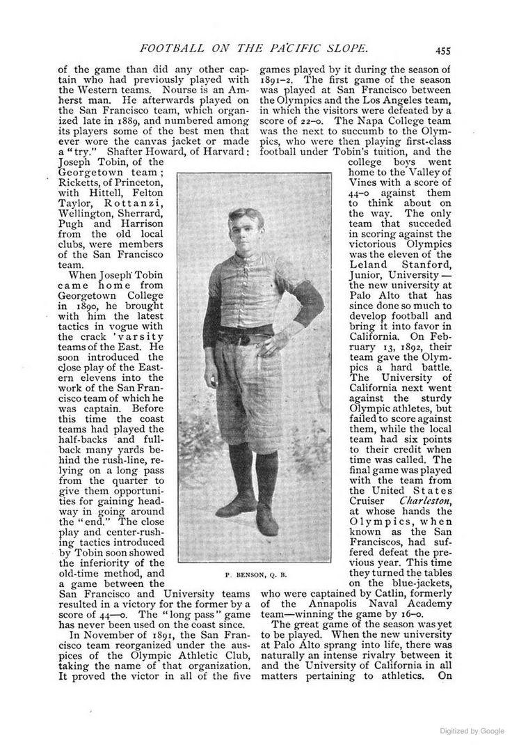 Football 1890s SAN Francisco. Olympic Club 1891