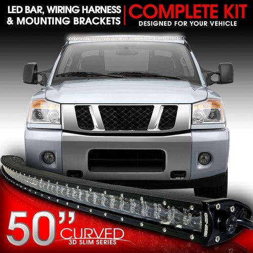 LED Light Bar Curved 288W 50 Inches Bracket Wiring Harness Kit for Nissan Titan 4WD/2WD 2004-2014