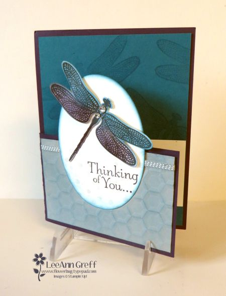 The dragonfly was stamped in Black Memento ink and sponged with Indigo and Eggplant ink.  It also has a glimmer from the Wink of Stella pen; love that!  The background on the inside was stamped with Versamark ink; a soft tone-on-tone look.