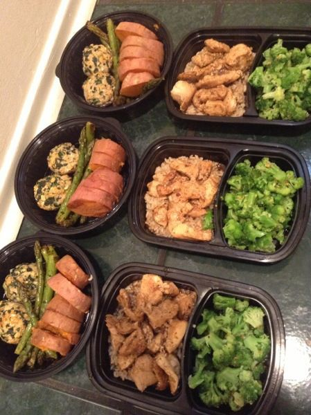 Turkey meat balls, tilapia, chicken, brown rice, asparagus, broccoli, & potato.