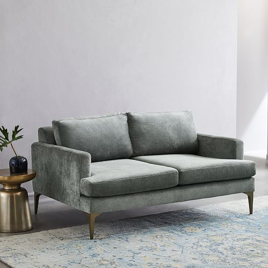 Andes Loveseat, Poly, Twill, Iron, Blackened Brass   – ATHENS HOUSE