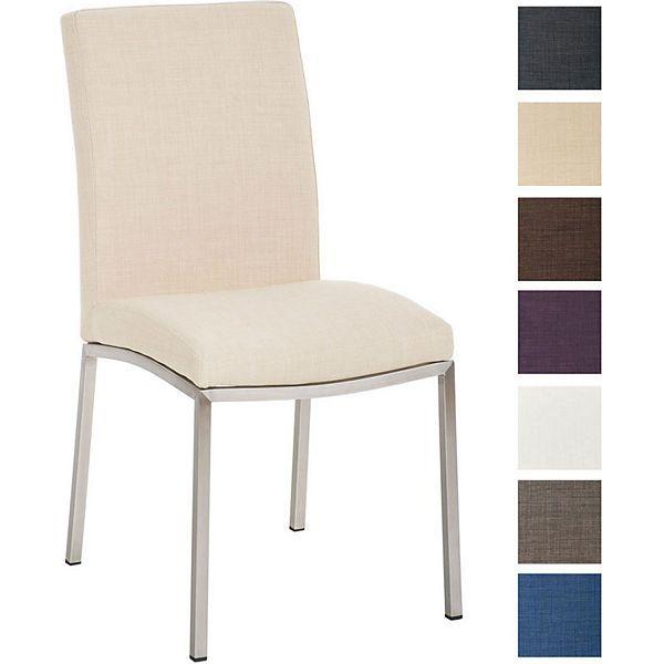 Design Edelstahl Esszimmer-Stuhl GRENOBLE mit Stoffsitz, Sitzhöhe 48 cm