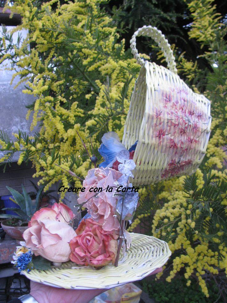 tazza sospesa in cannucce di carta #creareconlacarta #intreccidicarta #carta #primavera #handemade