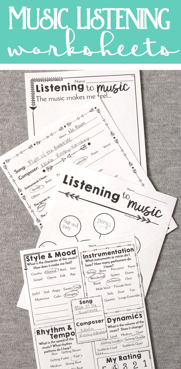 Awesome music listening worksheets for all grades kindergarten through high school!