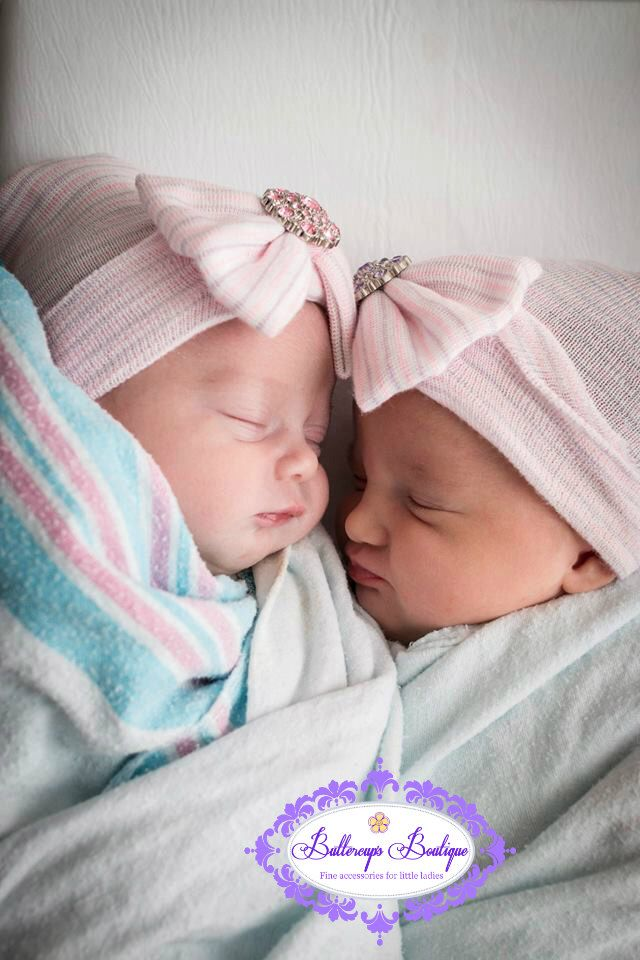 TWIN girl hospital hats, twn baby hats, twin girl, newborn ...