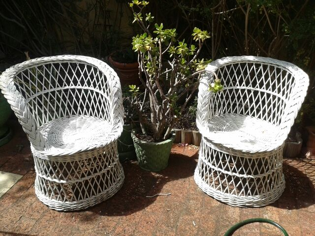 White, cane chairs, various shapes and sizes, available for hire from Treenridge weddings, Pemberton, from October 2014.