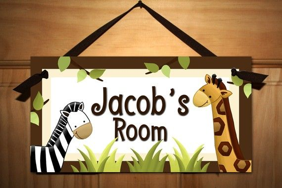 In the Jungle Baby Nursery Kids Bedroom DOOR SIGN Wall Art. $14.00, via Etsy.