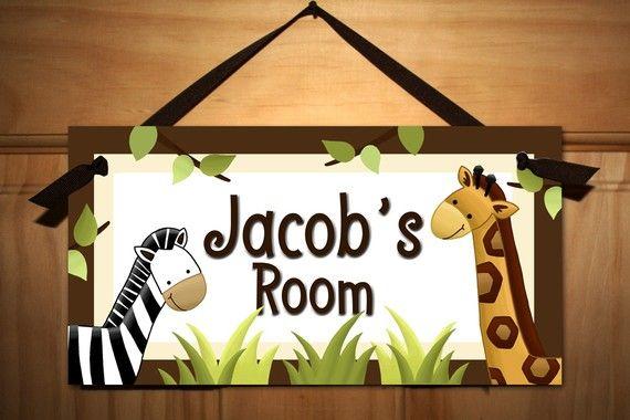In the Jungle Baby Nursery Kids Bedroom DOOR SIGN Wall Art. $14.00, via Etsy.