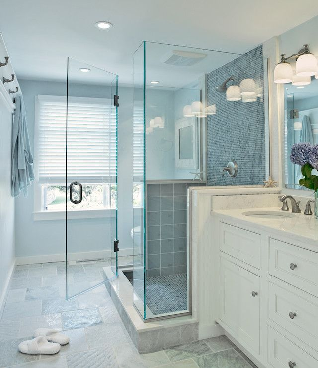 Glass Tiles In Bathroom: Blue Glass Shower Tiles, Transitional, Bathroom, Donna