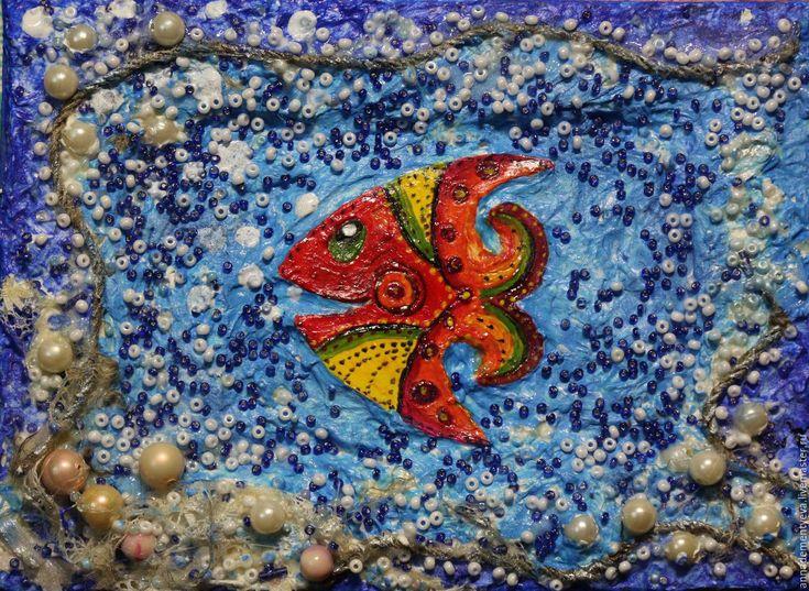 """Купить картина """"рыбка"""" - комбинированный, рыбка, животное, картина, подарок для детей, поделка, Картина для детской"""