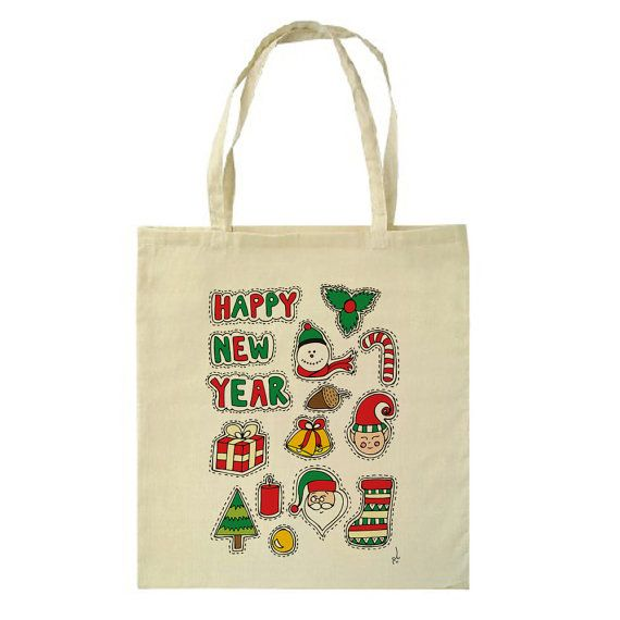 New Year Tote Bag by HappyMarker on Etsy