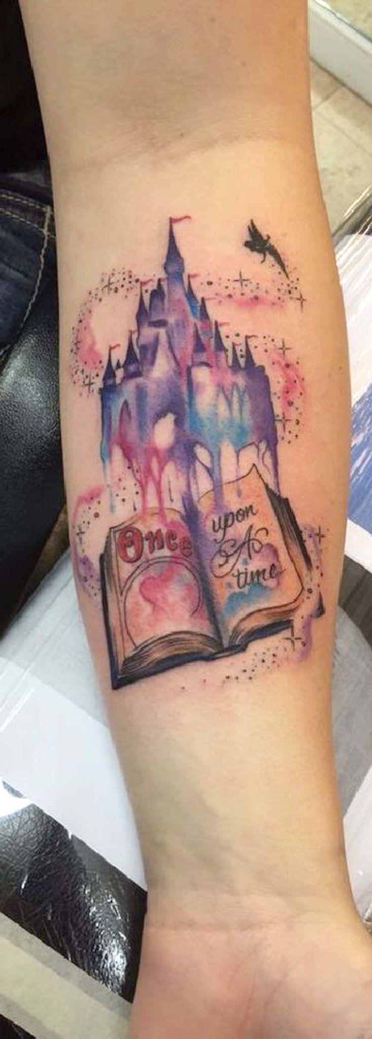 Disney Castle Watercolor Forearm Tattoo Ideas for Women Tinkerbell Fairy  -  ideas de tatuaje de antebrazo de castillo -  www.MyBodiArt.com #watercolortattooideas