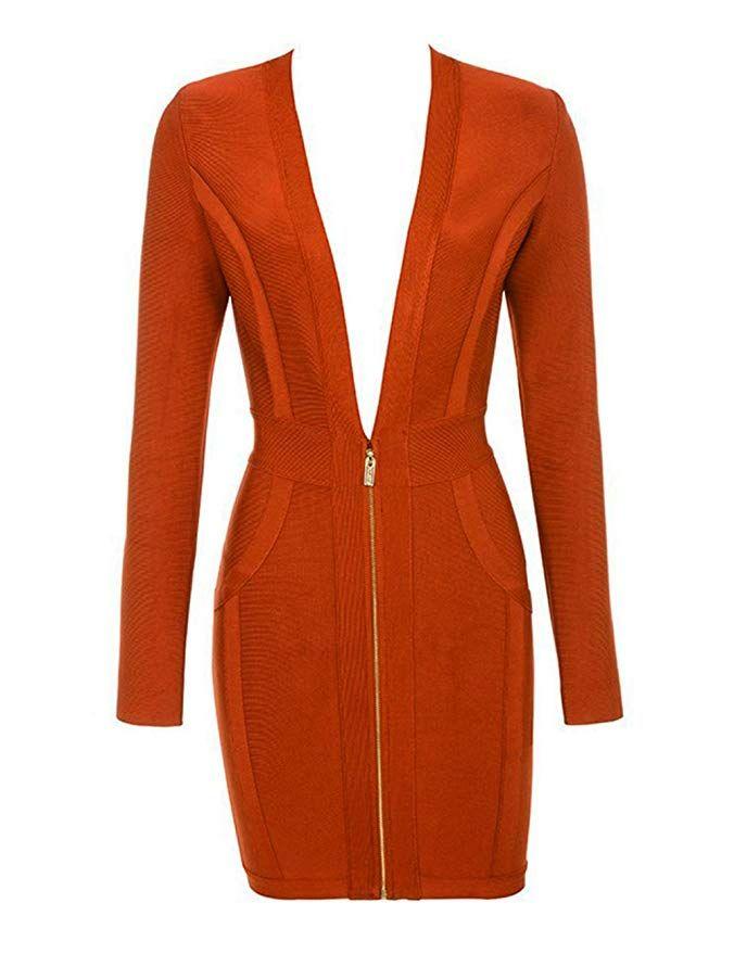 UONBOX Women s Long Sleeves Deep V Plunge Neck Short Mini Fall Bandage  Dress Club Dress (M 67c4f468a