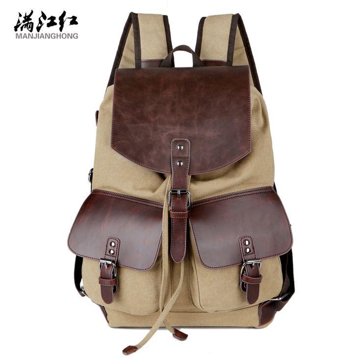Manjianghong Fashion New Men's Backpack Men's Travel Bags Large Capacity Travel Backpack Vintage Canvas Backpack School Bag 1351