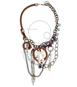 Akuamarin ve ametist taşlı kolye / Necklace with aquamarine and amethyst stones