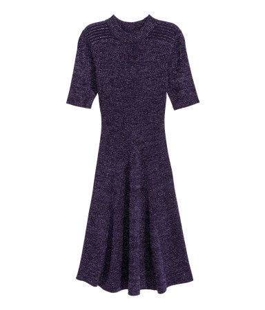 Ribgebreide jurk | Donkerpaars/glitters | Dames | H&M NL