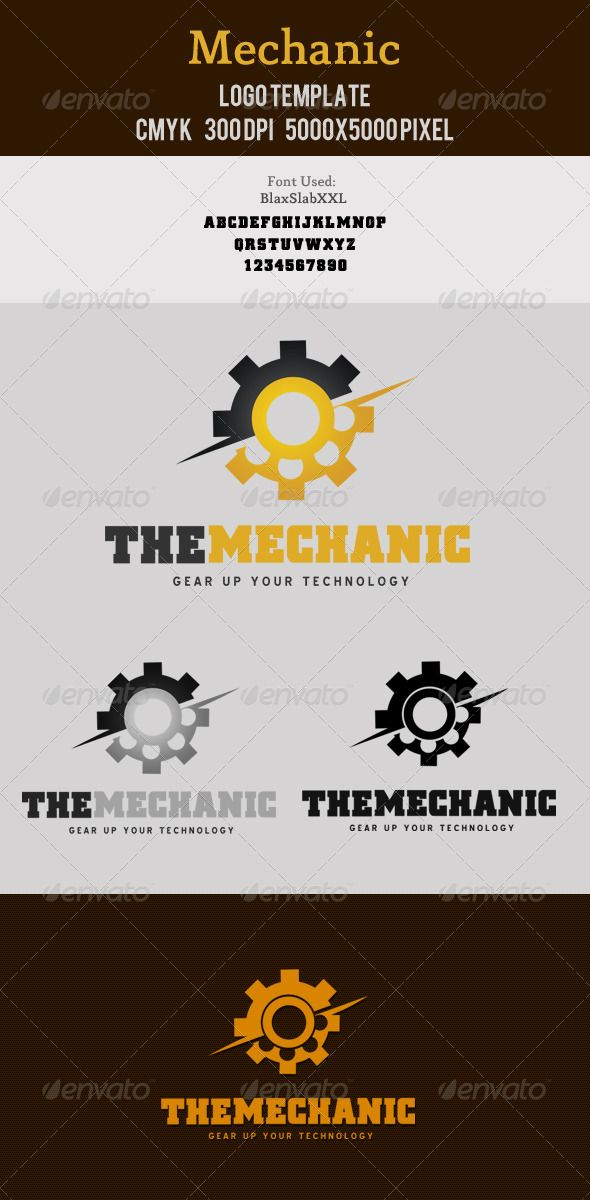 Mechanic Logo Template  #GraphicRiver         Mechanical/industry/tech related logo design. Very organized and customizable PSD file.  	 Font: Blue Highway Download Link- Click  Me  	 BlaxSlabXXL Download Link- Click  Me  Features:   5000×5000 pixel  300 DPI   CMYK   Resizable  Free Font Used  	 Thank you  	   	   Check out my Business Cards    Check out my Flyers  Check out Corporate Stationaries   Check out my Exclusive Logo Designs               Check out my Signage Designs  Need A Custom...