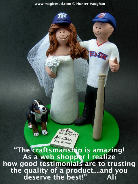 Baseball Wedding Cake Topper Gift, New York Yankees Wedding CakeTopper, Red Sox Baseball Wedding Anniversary Gift    Wedding Cake Topper for MLB Baseball Fans, custom created for you! Perfect for the marriage of a Red Sox, or any baseball team, loving Groom and his Bride! Simply email or call toll free with your own info and pictures of yourselves, and we will sculpt for you a treasured memory from your wedding!    $235 #magicmud 1 800 231 9814 www.magicmud.com