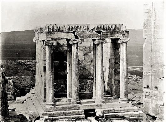 A wonderful archival image from the 1850's of the Acropolis' Temple of Athena Nike .