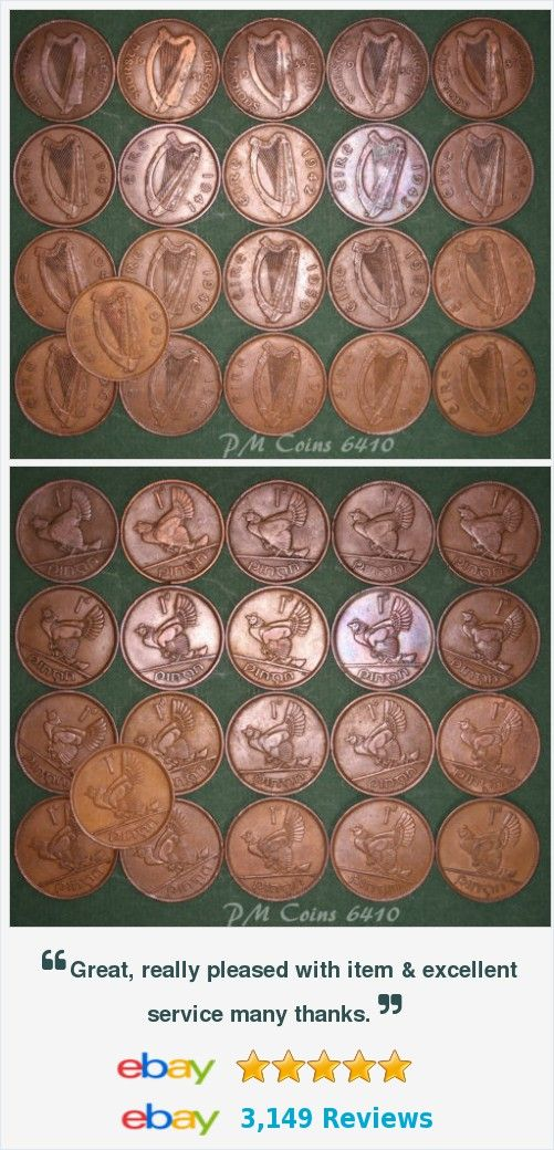 21 Irish Pennies 1d EIRE Ireland, 1928 to 1968 complete date run, coins [6410] http://www.ebay.co.uk/itm/21-Irish-Pennies-1d-EIRE-Ireland-1928-1968-complete-date-run-coins-6410-/371635644773?hash=item568735e965