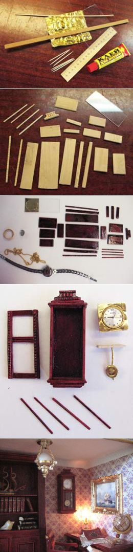Часы с маятником для кукол (мастер класс) Russian, but the picture says it all: 12th scale wall clock using a functional watch as an insert.